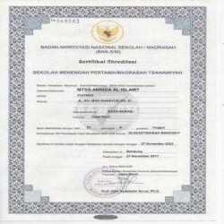 Sertifikat Akreditasi MTs